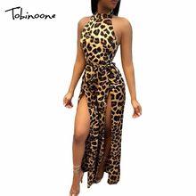 Tobinoone Sexy Leopard Long Jumpsuits Women 2018 Split Wide Leg Summer  Bodysuit Sash High Waist Beach Overalls Backless Romper 2e9937c11efa