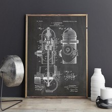 Fire Hydrant Patent Fire Fighter Poster Wall Art Canvas Painting Vintage Blueprint Fire House Art Prints Pictures Firefighter(China)
