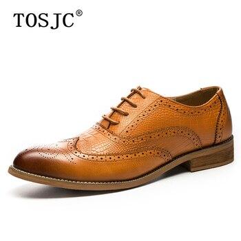 2f2c20358c TOSJC 2018 nueva moda para hombre de ala vestido zapatos Vintage hombres  Brogue Oxford fiesta de