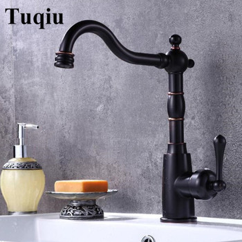 Tall brass Basin Faucet hot and cold new arrival black single lever Wash Faucet bathroom sink faucet basin tap free shipping