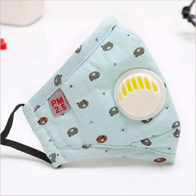 Cartoon 3-10 year old Kids mask PM2.5 Anti Haze Cotton Mask Breath valve anti-dust mouth mask Activated carbon filter respirator 3