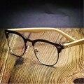 Peekaboo НОВЫЕ заклепки площади бамбука очки кадров мужчин прозрачные линзы полу без оправы оправы для очков компьютер бамбука женщин УФ-матовый
