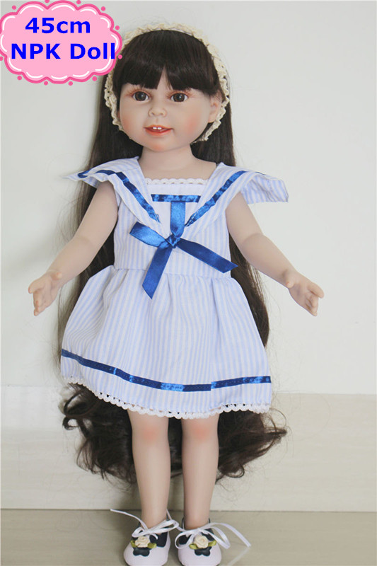 Hot Sale 18inch American Girl Doll Brinquedos Menina Best Gift Toys For Girls Pretty Reborn Baby Doll With Unique Handmade Skirt new arrived handmade american 18 inch girl doll vinyl princess smiling girls looks so pretty baby doll toys for children
