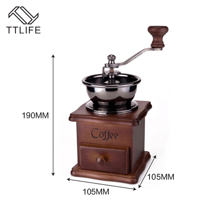 TTLIFE Stainless Steel Retro Coffee Spice Grinder with High quality Porcelain Classical Wooden Mini Manual Coffee