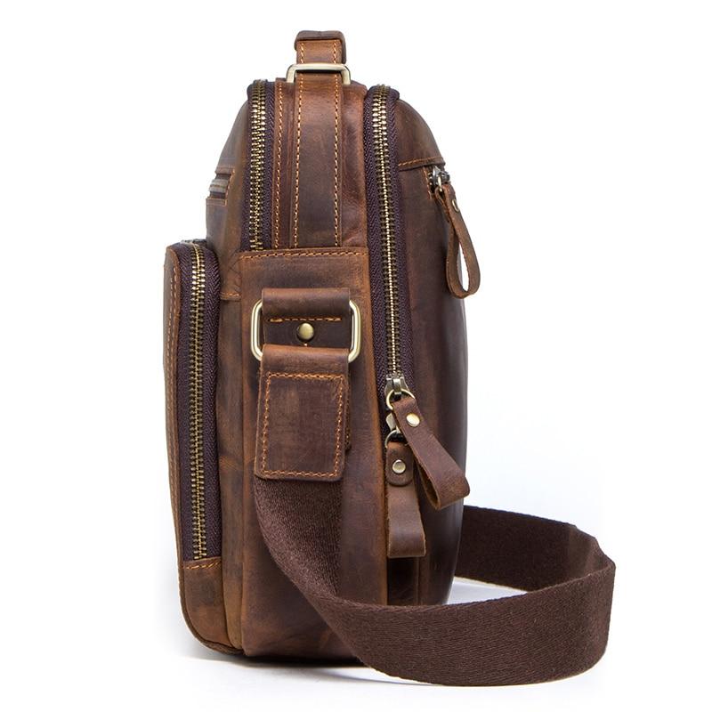 CONTACT'S crazy horse leather men's shoulder bag vintage messenger bags men bolsos male crossbody bags man's handbag sling bag 2