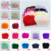 Factory Price 10Yards High Quality Real Ostrich Feather Trim 10 15CM Plume For Crafts Skirt/Dress/Costume Decoration Accessories