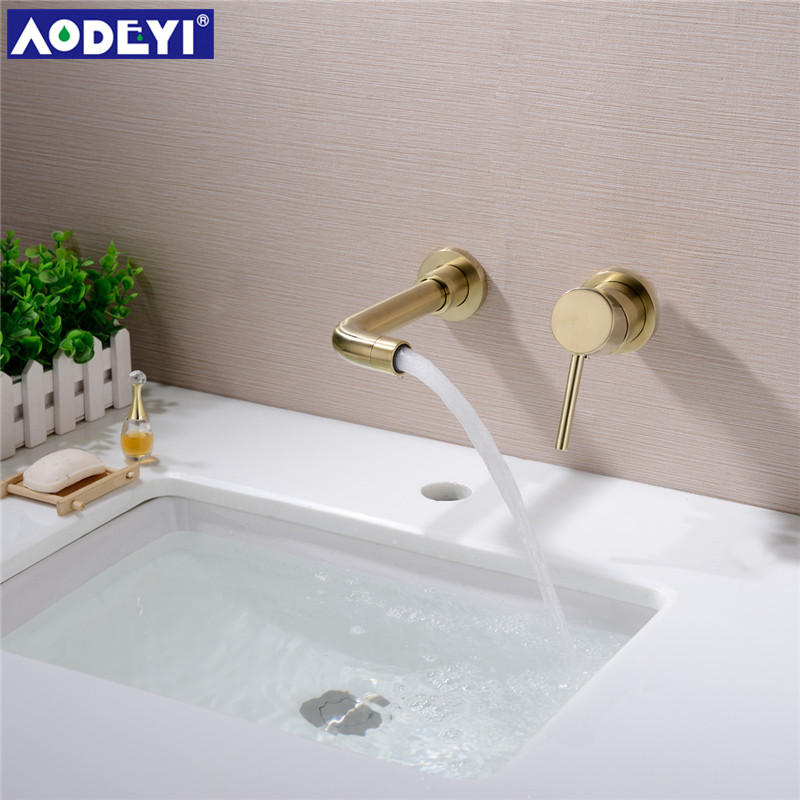 AODEYI Concealed Bathroom Basin Sink Mixer Tap Single Handle Wall Mounted Faucet with Swivel Spout 12