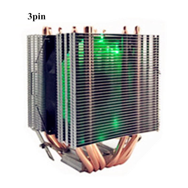 For Intel LAG 1155 1156 775 for all AMD LED light <font><b>Cooler</b></font> Fan 6 Heatpipe 3pin Dual Tower <font><b>12</b></font> <font><b>V</b></font> <font><b>Cooler</b></font> Heatsink Cooling image