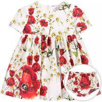 Kids Dress Summer Style Girls Casual Dresses A line Cotton Baby Girls Dresses Floral Print Children Dress Designer Kids Clothes