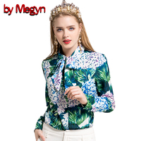 By Megyn 2017 Fashion Runway Blouses Bow Necktie Green Floral Print Long Sleeve Shirt Women Blouses