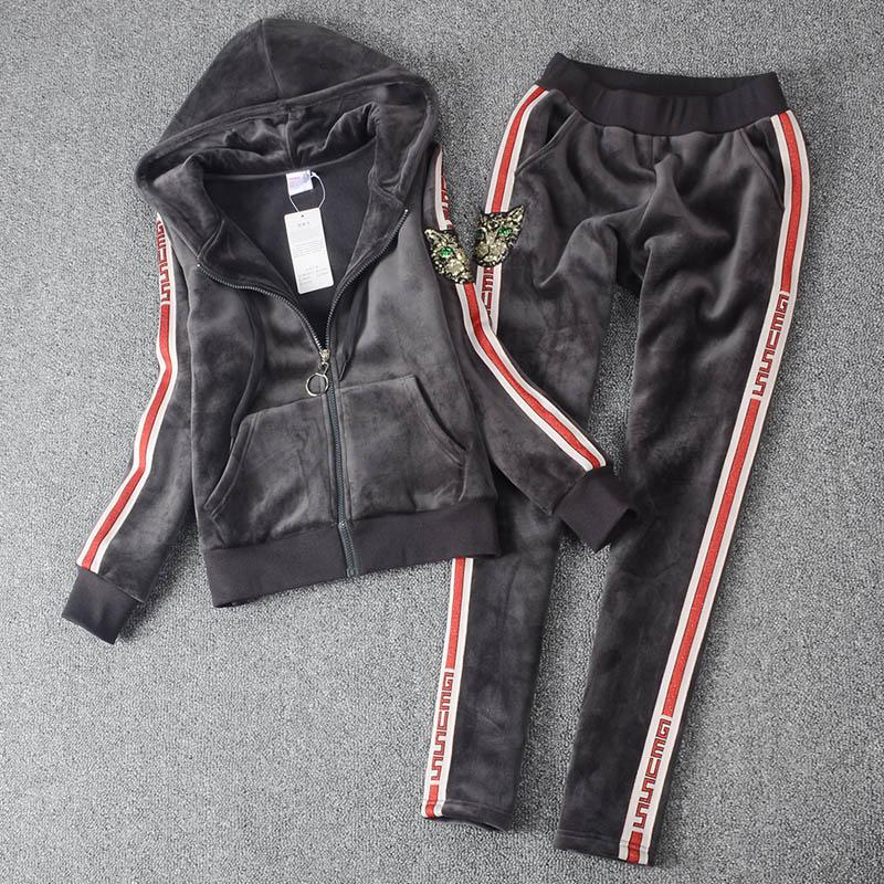 Marque Grande Sport Hiver Pantalon Femmes Et Or Taille Sportswear Tissu Automne Velours And2018 Sweat Costume De EFqfn5WOz