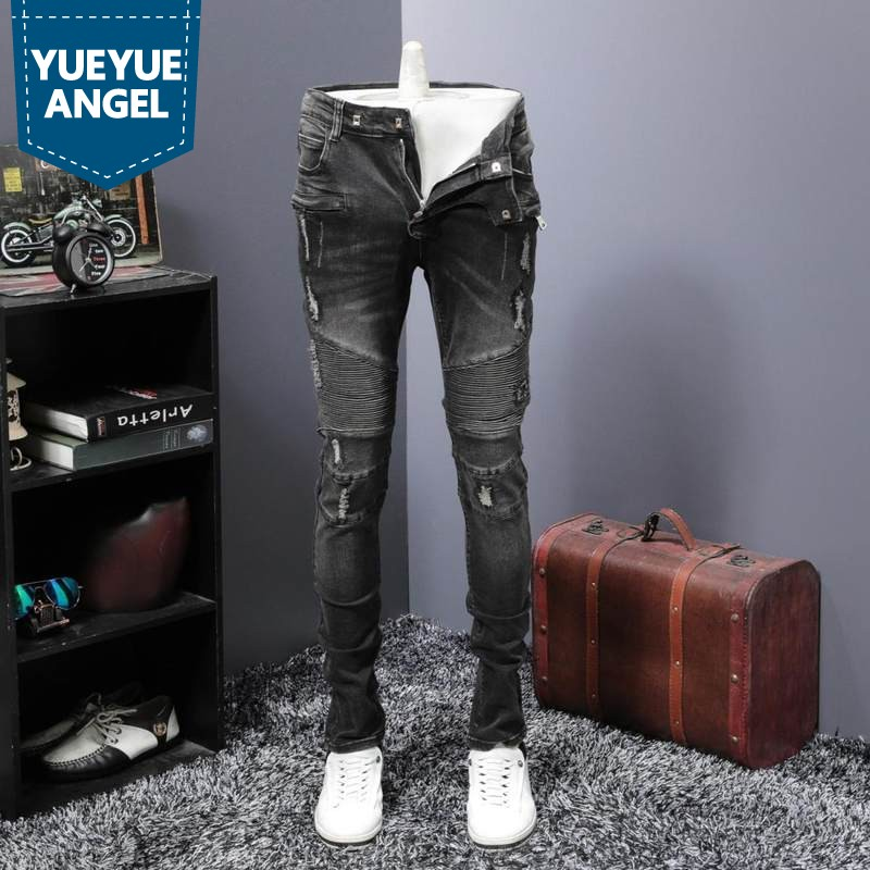 Vintage Ripped Hole Jeans Men Classic Pleated Slim Fit Denim Biker Trousers Street Style Hip Hop Jean Pants Denim Overalls Male