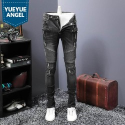 Vintage Ripped Loch Jeans Männer Klassische Falten Slim Fit Denim Biker Hosen Street Style Hip Hop Jean Hosen Denim Overalls männlichen