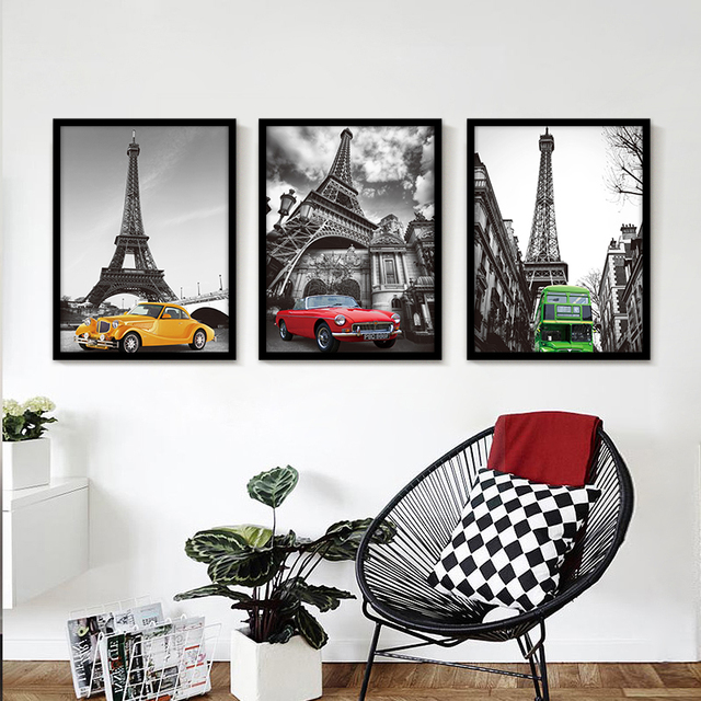 Nordic Decor Paris City Eiffel Tower Wall Art Canvas Painting Wall Pictures  For Bedroom Decoration No