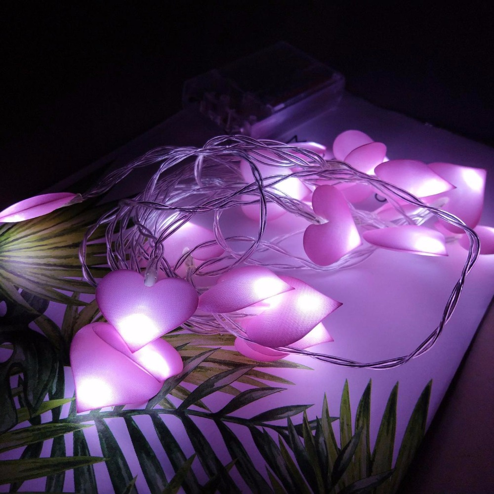 Heart Fabric LED Batterij String Lampen Holiday Lights Outdoor Indoor - Vakantie verlichting - Foto 1