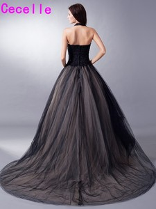 Image 5 - Black Nude Colorful Tulle Gothic Wedding Dresses With Color Non White Halter Bridal Gowns Non Traditional Robe De Mariee Real
