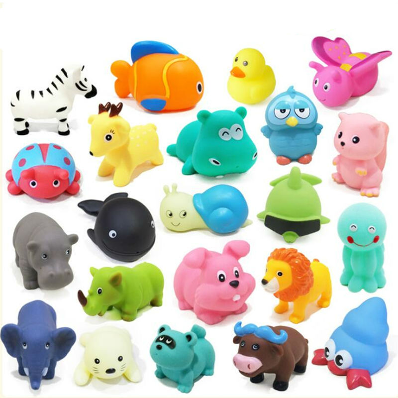 10Pcs Mixed Animals Soft Rubber Float Squeeze Sound Squeaky Bathing ...