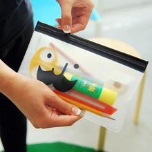 Jonvon Satone 1pcs Kawaii Mr.Beard Bags Transparent Pencil Case Matte Bag Korean Creative Cute Pencil boy School Supplies