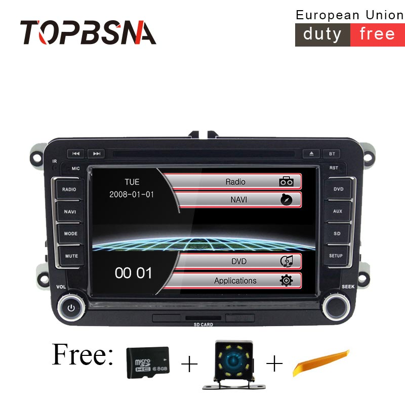 TOPBSNA 2 din Car DVD Player For VW <font><b>Golf</b></font> <font><b>5</b></font>/6 Passat b7/cc/b6 SEAT leonTiguan Skoda Octavia GPS Navi Car radio automotive <font><b>USB</b></font> RDS image