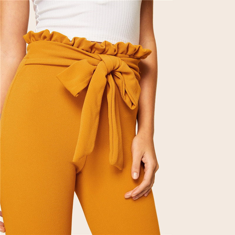 SHEIN Elegant Paperbag Waist Belted Detail Solid High Waist Pants Women Skinny Frill Trim Elastic Waist Spring Summer Pants 15