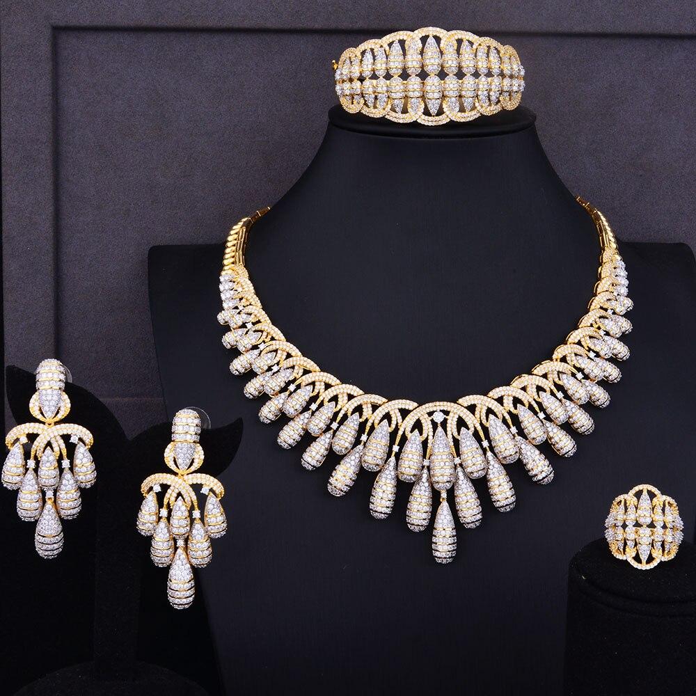 GODKI Luxury Tassel Drop Women Wedding Cubic Zirconia Choker Necklace Earring Saudi Arabia Jewelry Set Jewellery