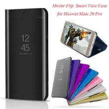 Smart Flip Stand Mirror Case For Huawei Mate 20 Pro Case Mate 20Plus 20+ Clear View PU Leather Cover For Huawei Mate 20 Pro Case protective pu pc flip open case w stand for huawei ascend mate 7 brown