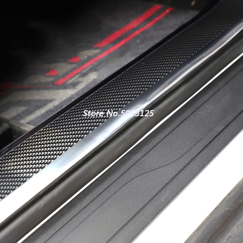 For Hyundai Tucson 2019 2018 Accessories Car Door Guard Bumper Carbon Fiber Rubber Styling Door Sill Protector Car Stylings in Interior Mouldings from Automobiles Motorcycles
