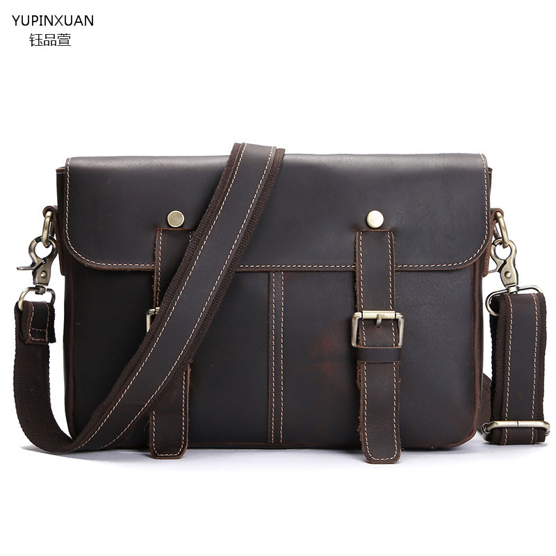 YUPINXUAN Handmade Leather Brief Cases Cow Leather Briefcase Vintage Mens Real Leather Messenger Bags Male Business Office Bag
