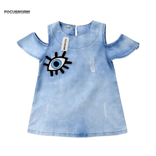 2745be50ff7 Cute Girls Denim Dress Kids Baby Girl Eyes Print Dress Children Denim Girls  Party Dresses Girls Clothes Summer