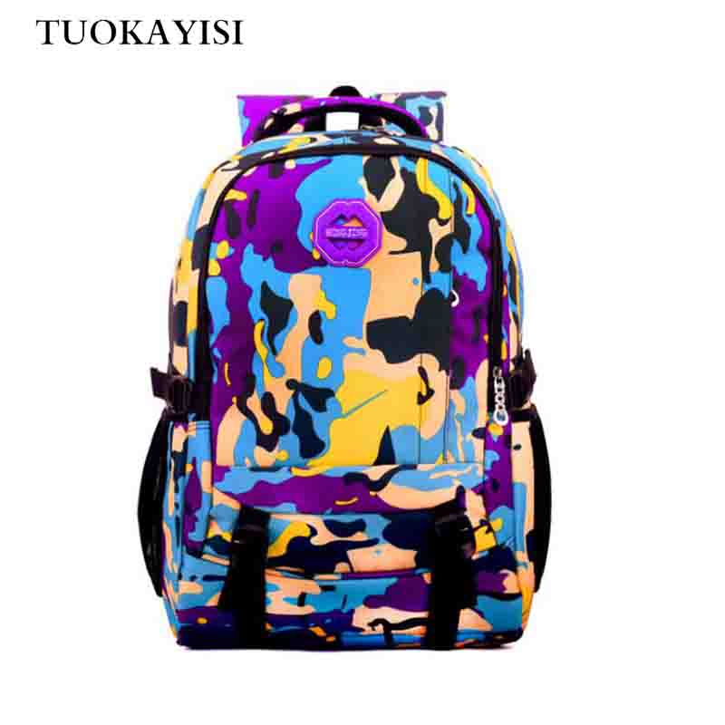 Kids School Bags Orthopedic Backpack Schoolbag Waterproof Camo Nylon School Bags for Gir ...