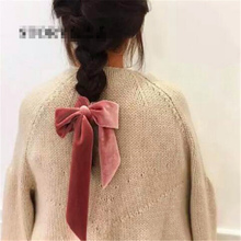 Hot Sale 1pc 6 Colors Bow Velvet Scrunchies knot Elastic Hair Band Girls Rope Ponytail Holder Tie Head wear