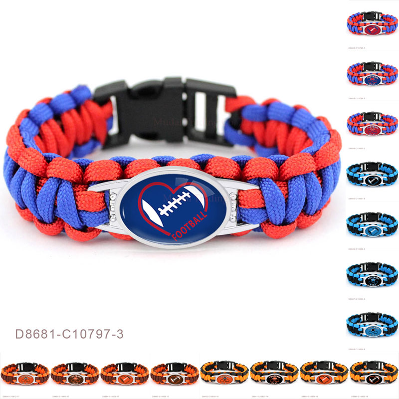 (10 PCS/lot)Football Infinity Girl Heart Charms Paracord Survival Sports Camping Bracelet Rope Bracelets For Women Men Jewelry
