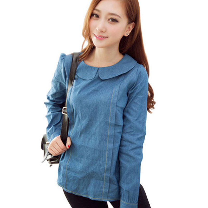 Buy women blouses denim shirt women tops for Blue denim shirt for womens