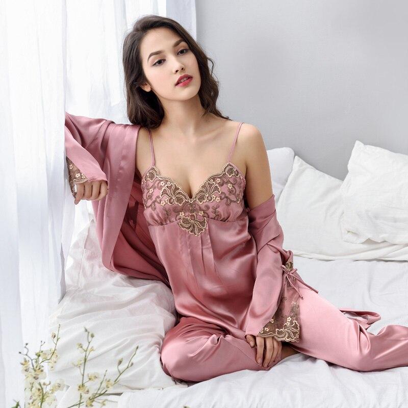 NewThree Piece Female Sexy Silk Pajamas Set Robe Sling Pajamas Long Sleeved Pants Women Nightgown Noble Embroidered Sleepwear