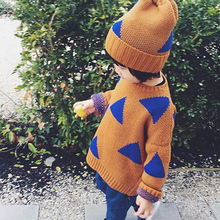 Autumn Casual Children Knitwear 2019 Boys Girls Triangle Sweater Jumper Kids Knitted Clothing Fashion Girls Sweater
