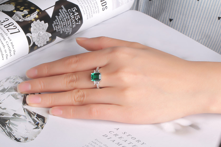 HTB1u8m9mRsmBKNjSZFFq6AT9VXaD UMCHO Green Emerald Genuine 925 Sterling Silver Rings for Women Promise Princess Gemstone Ring Wedding Romantic Jewelry Gift New