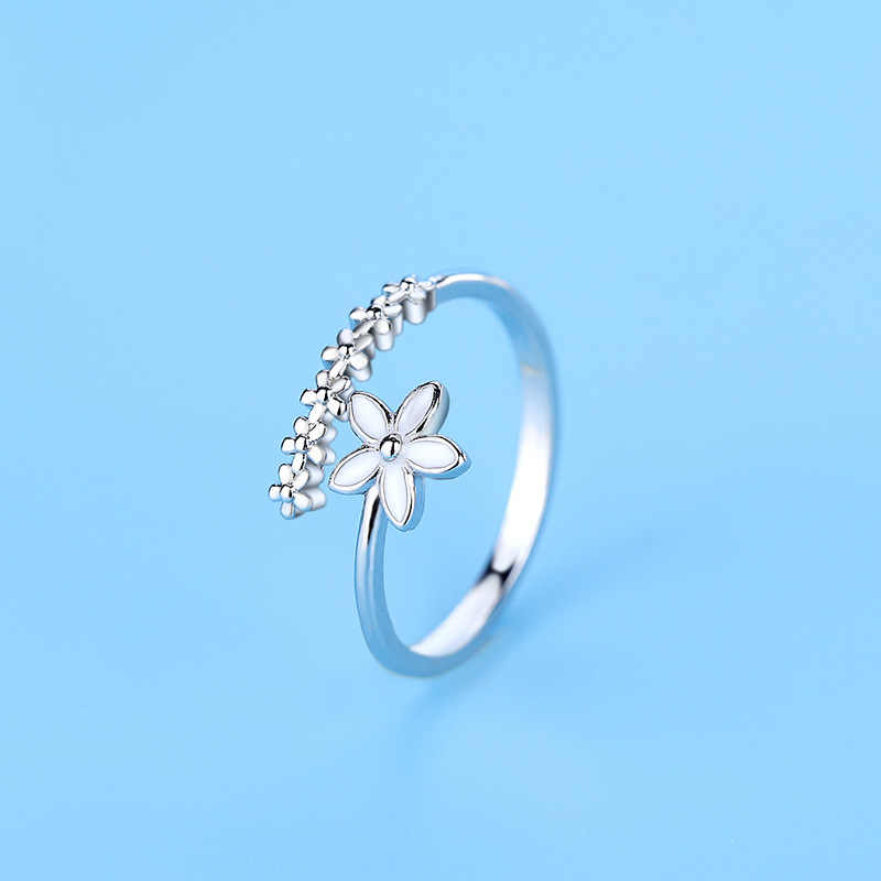 Sweet Cute fashion white flower leaf Silver color ring for Mori girl Opening adjustable rings for women jewelry gift wholesale
