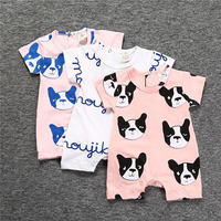2017 New Casual Baby Girl Clothes Summer Romper Doggie Print Infant Newborn Baby Boy Clothes Babygrow Short Sleeve Romper