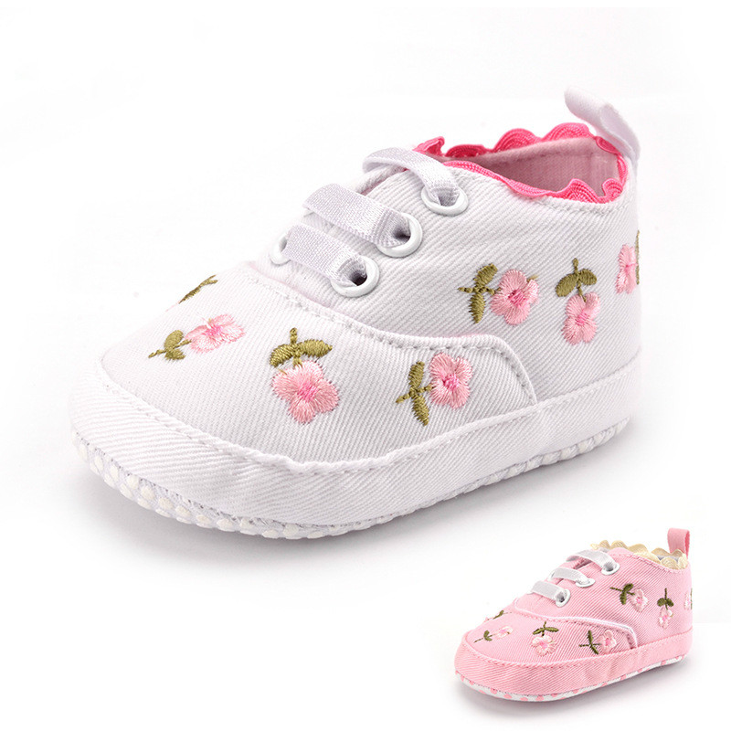 Toddler Baby Girl Shoes White Lace Floral Embroidered Soft Shoes Pink Prewalker Walking Infant Kids Shoes