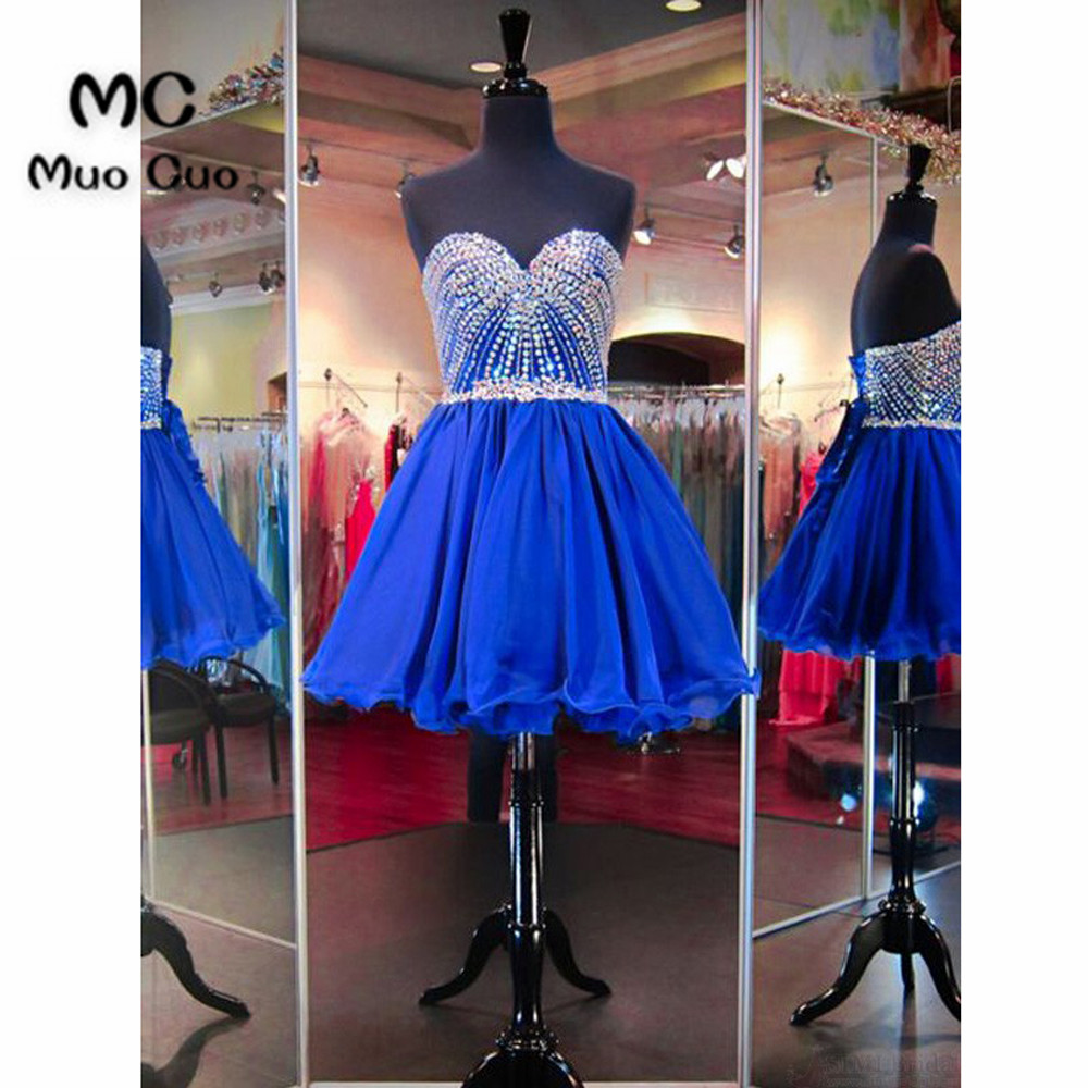 Popular 2018 Royer Blue Homecoming Dress Short With Crystals Beaded Organza Cocktail Party Dress Ball Gown TUTU Homecoming Dress