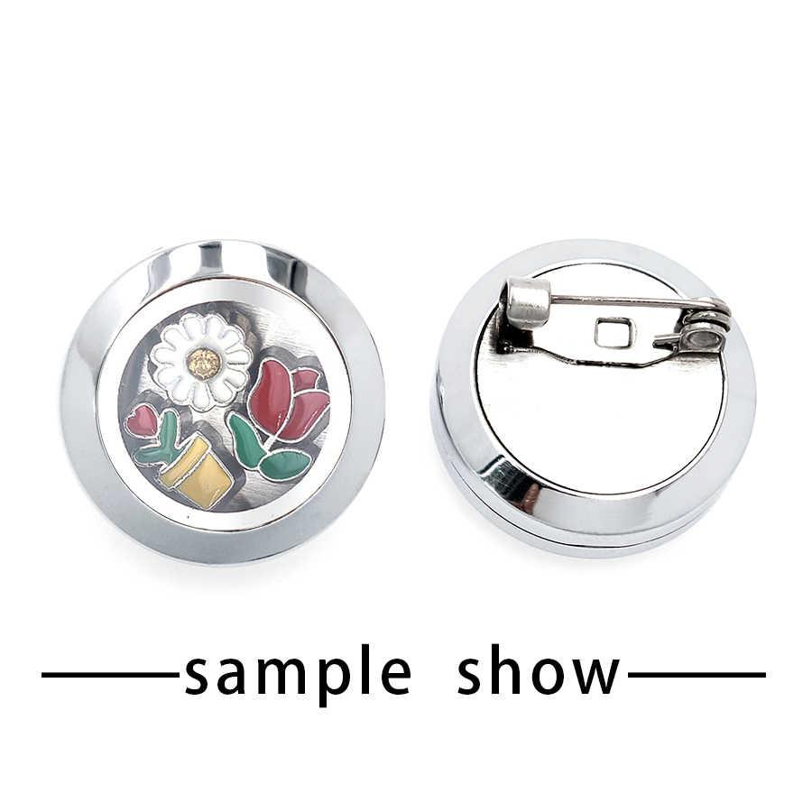 Bán buôn giá 10 pcs 316L thép không gỉ 20mm vòng Trâm Cài đối với Phụ Nữ Nổi magnetic Glass Lockets Brooch Pins