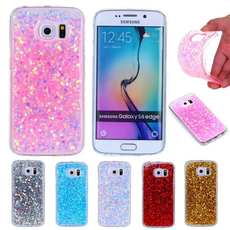 Para Samsung S6 Borda G925 G925f Glitter Caso Colorido Brilhante Glitter TPU Silicone Suave de Volta Caso Capa para o Samsung Galaxy s6 Borda