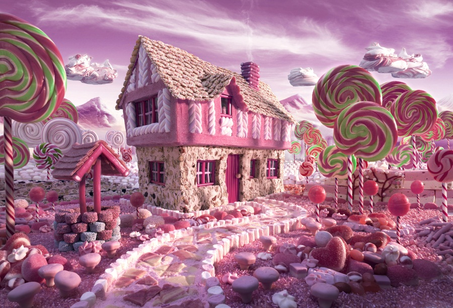 Laeacco Fairytale Lollipops House Passage Dessert Decor Baby Foto - Camera en foto