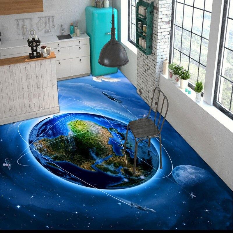 ФОТО Free Shipping Star Galaxy Cosmos 3D flooring painting wallpaper restaurant tea house self-adhesive PVC floor mural