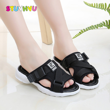 Girls Sandals Children Shoes for Kids Slippers Fashion Summer Canvas Boys Slip Flat Black White Red