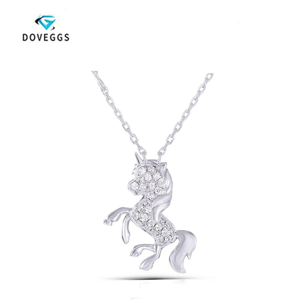 DOVEGGS sterling solide 925 argent 0.195CTW G couleur Moissanite cheval forme pendentif collier avec Accents coeur moissanite pierre