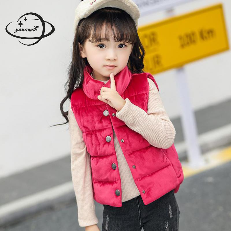 Bright Yauamdb Kids Cardigan Vests Winter 4-11y Girls Boys Waistcoats Solid Clothing Single Breasted Stand Collar Children Clothes Ly38 Buy One Give One