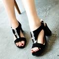 Verdadera del cuero genuino de las mujeres sandalias de tacón alto plataforma señora sexy vestido de verano zapatilla zapatos casuales calzado K1906 tamaño grande 33-44