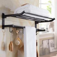 New arrival 50 cm Folding Bathroom Towel Rack Black Oil Brushed Foldable Fixed Bath Towel Holder Brief Bath Shelves Towel Rail