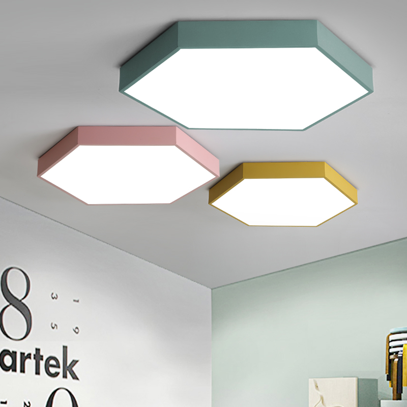 Modern colorful ceiling lights for bedroom living room kids room lamparas de techo Ultra-thin iron hexagon ceiling lamp fixtures macaron ultra thin modern led ceiling lights pink yellow green body ceiling lamp for living room bedroom lamparas de techo